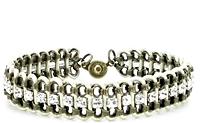 Brass Chain Cream Leather Bracelet