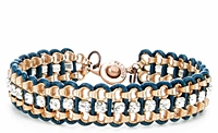 Matte Copper Chain Teal Leather Bracelet